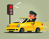 Angry bad rushing driver car man character braking violation low rules and riding on red traffic light. Transportation driving problems flat cartoon illustration graphic design