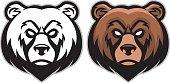 vector of angry bear head mascot