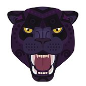 Angry black panther head icon. Wild cat vector decorative Emblem