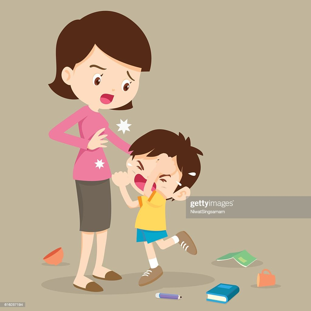 angry boy hitting  mother : Arte vectorial