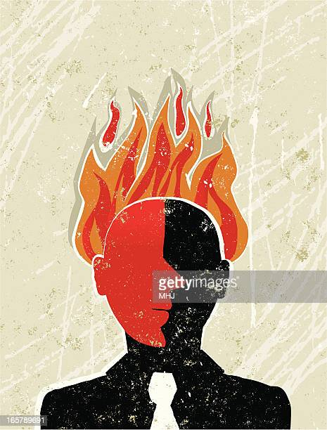 Angry Business Man With his Head on Fire