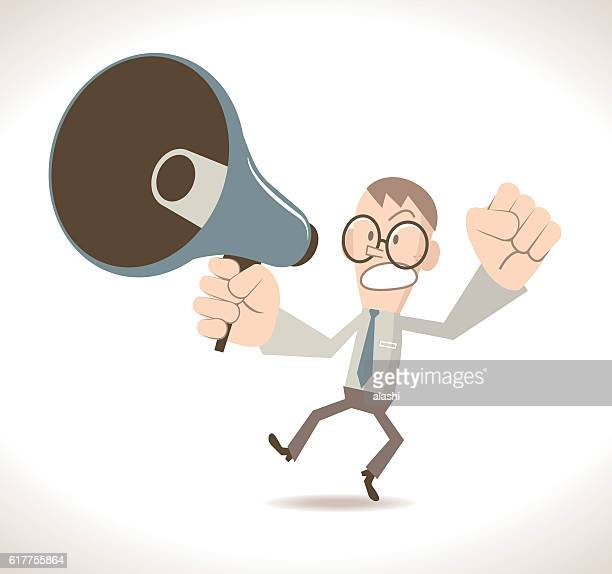 Angry businessman (teacher) with megaphone