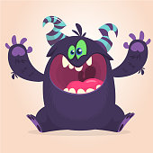 Angry cartoon black monster screanimg. Yelling angry monster expression. Big collection of cute monsters. Halloween character. Vector illustrations.
