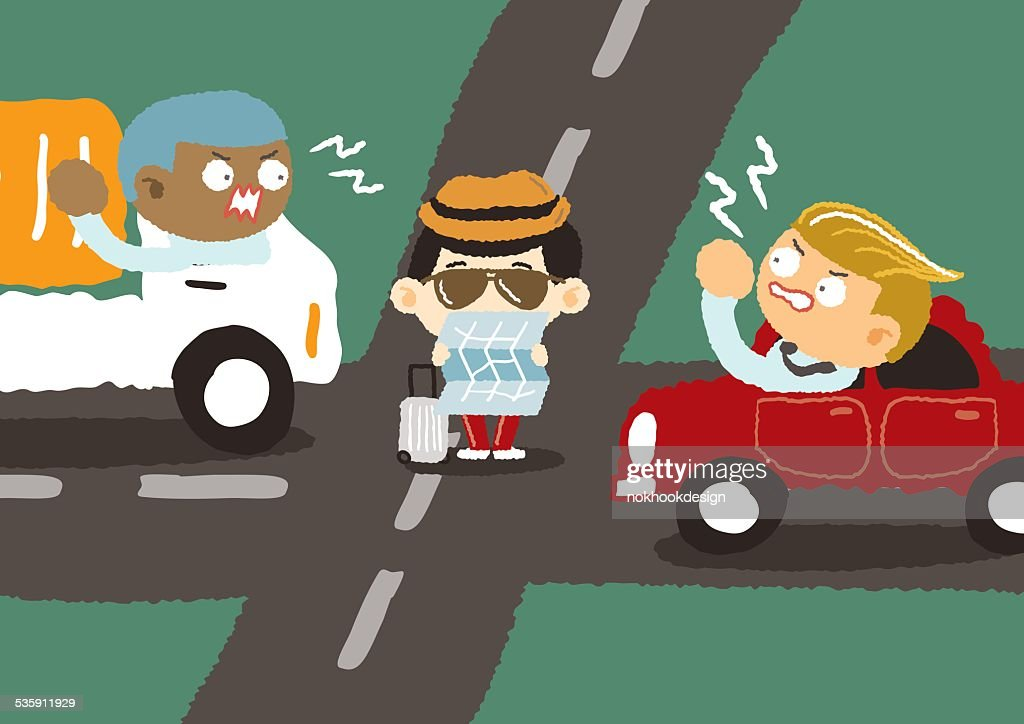 Angry driver in downtown - freehand drawing vector Illustration : Vector Art