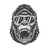 Angry gorilla in monochrome style in ski glasses. Vector vintage illustration