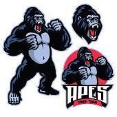 vector of angry gorilla mascot standing