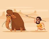 Angry hungry primitive caveman character chasing running hunting mammoth. Vector flat cartoon illustration