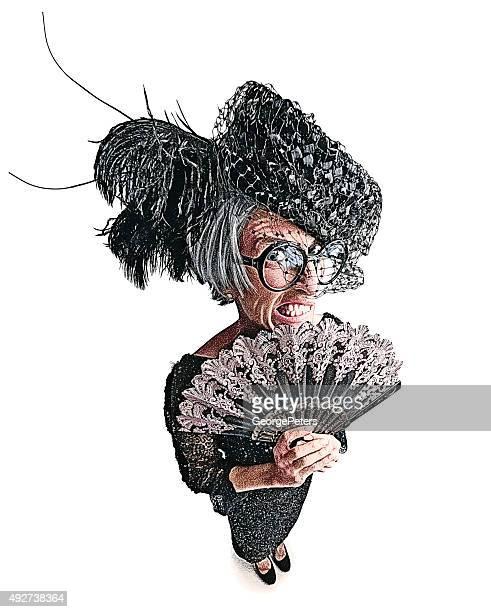 Wütend altes Lady mit Fischaugen-Objektiv Wirkung und lustige Ausdruck