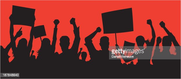 Angry protesters : stock vector
