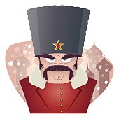 cartoon illustration of an angry russian man