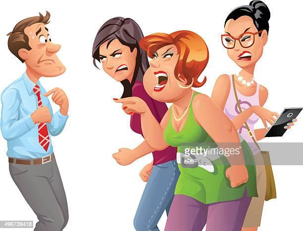 Enojado mujeres a Man Yelling