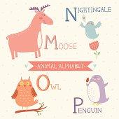 Animal Alphabet. M, N, O, P. Moose, nightingale, owl, penguin