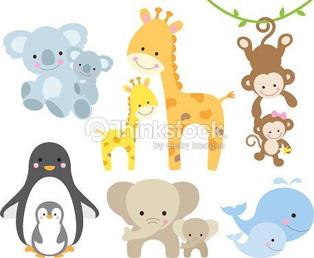 Animal And Baby Set Vector Art Thinkstock