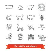 Animal breeding and farming thin line art icons. Vector set of agriculture, husbandry, cultivation linear style symbols isolated on white.