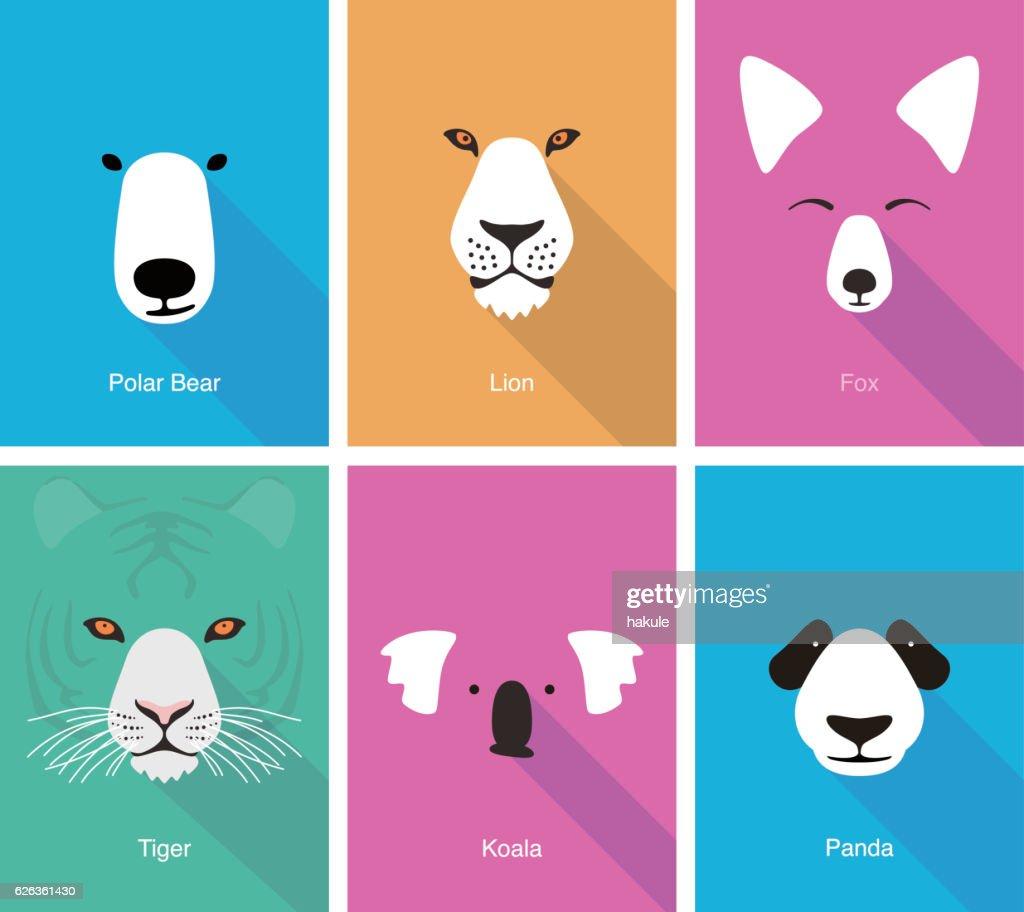 animal cartoon face, flat face icon vector : Vector Art
