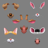Animal ears and noses. Vector selfie photo filters animals faces masks. Funny effect animal mask avatar for photo selfie illustration