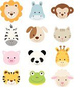 Vector illustration of animal faces including lion, hippo, monkey, zebra, dog, cat, pig, panda, giraffe, tiger, frog, and sheep.
