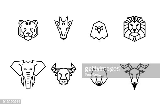 8 animal heads icons. Vector geometric illustrations of wild life animals. : stock vector