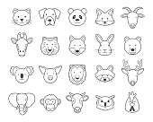 Animal heads. Black and white. Outline Set.