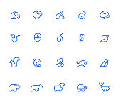 Animal icons, simple line set