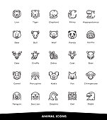 Animals, Wildlife, Sea Animals, Zoo, Animal Faces, Icons, Vector, Illustration