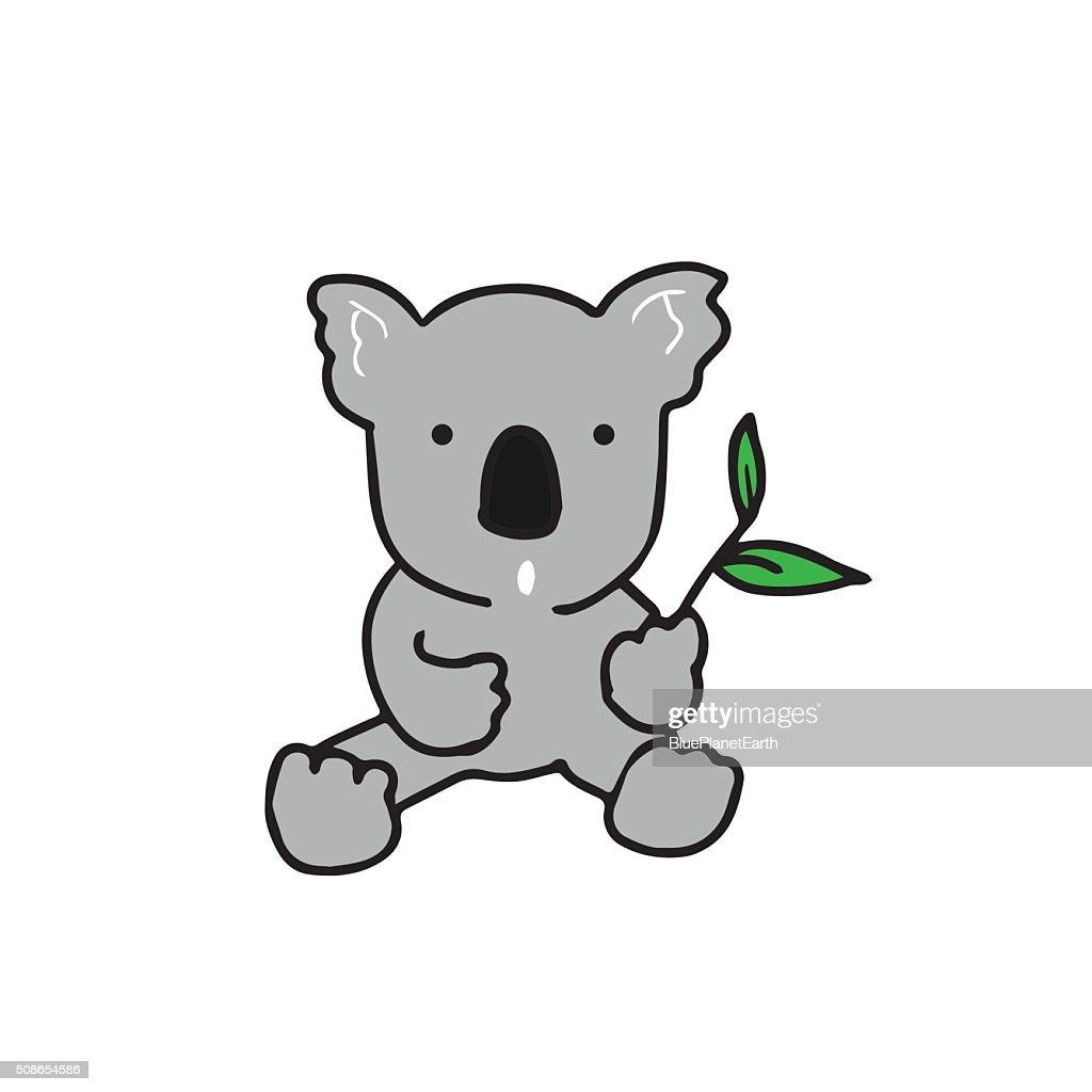 Animal koala eating : Vector Art