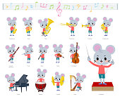 A set of mouse boy on classical music performances.There are actions to play various instruments such as string instruments and wind instruments.It's vector art so it's easy to edit.