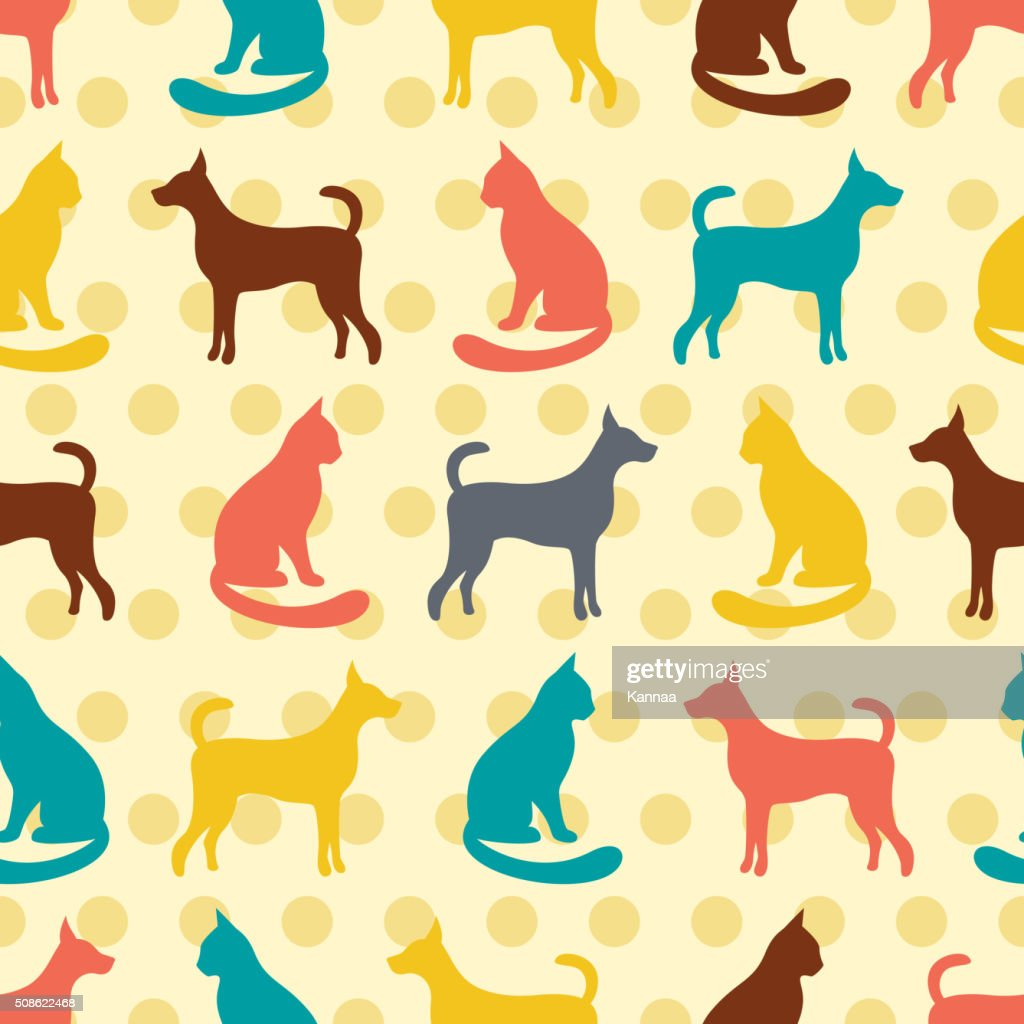 Animal seamless vector pattern of cat and dog silhouettes : Vector Art