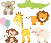 Vector illustration of cute animal set including koala, crocodile, giraffe, monkey, lion, and sheep.