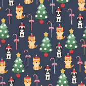 Boston terrier and welsh corgi puppies with Christmas tree and candy cane. Vector seamless pattern or wallpaper.