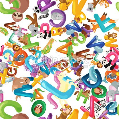 Animals Alphabet Background Set Of Cartoon English Type Letters With Cute Zoo Wildlife In Seamless
