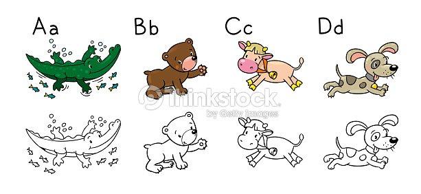 Los Animales Alfabeto O Abc Libro Para Colorear Arte vectorial ...
