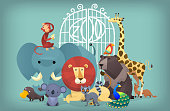 Illustration of wild exotic animals standing near the zoo gates. Portrait of group of animals