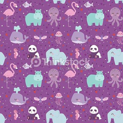 Animals cartoon wildlife nature seamless pattern jungle texture bird colorful retro wallpaper vector
