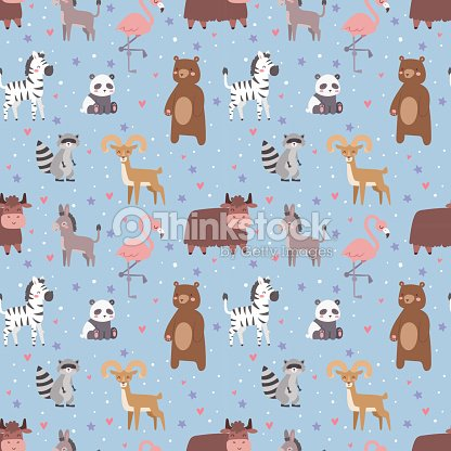 Animals cartoon wildlife nature seamless pattern jungle texture bird colorful retro wallpaper vector