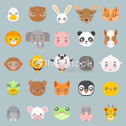 Animals cute baby cartoon cubs flat design head icons set character vector illustration