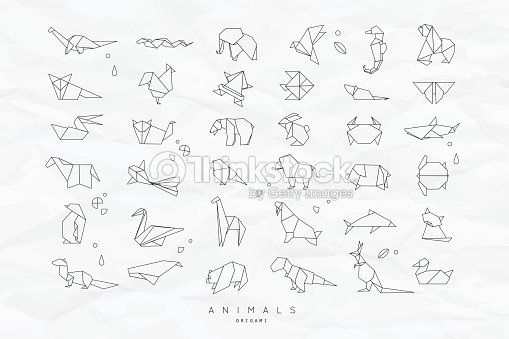 Animals flat origami set crumpled : stock vector