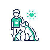 Animals Help - modern vector single line design icon. An image of a human with cat and dog under heart sun. Green color on white background. Charity, volunteering, shelter, vet clinic presentation. Pe