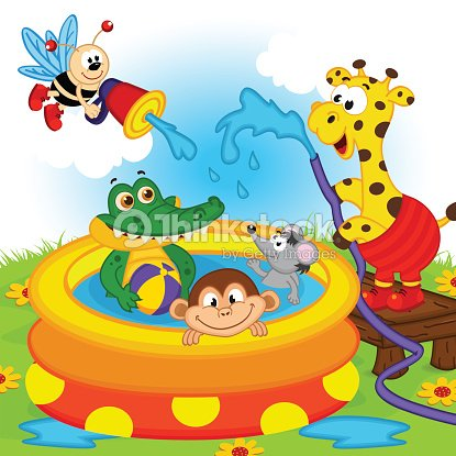 Animaux dans la piscine gonflable clipart vectoriel for Animaux gonflable piscine