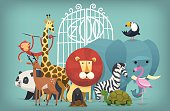Vector illustration card with zoo animals standing near gates inviting to visit a Zoo