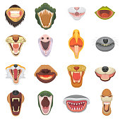 Animals mouth vector open jaw with teeth or fangs of roaring animals angry lion or cat and laughing bear with aggressive shark illustration set of animalistic beast isolated on white background.