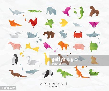 동물 종이 접기 색상 설정 : 벡터 아트