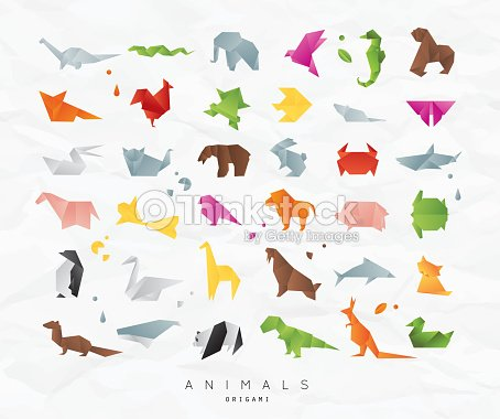 Origami Animales Establece Color Arte vectorial | Thinkstock