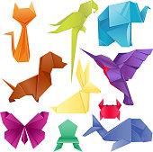 Animals origami set japanese folded modern wildlife hobby abstract symbol creative decoration vector illustration. Geometric nature traditional japan polygon asian toy.