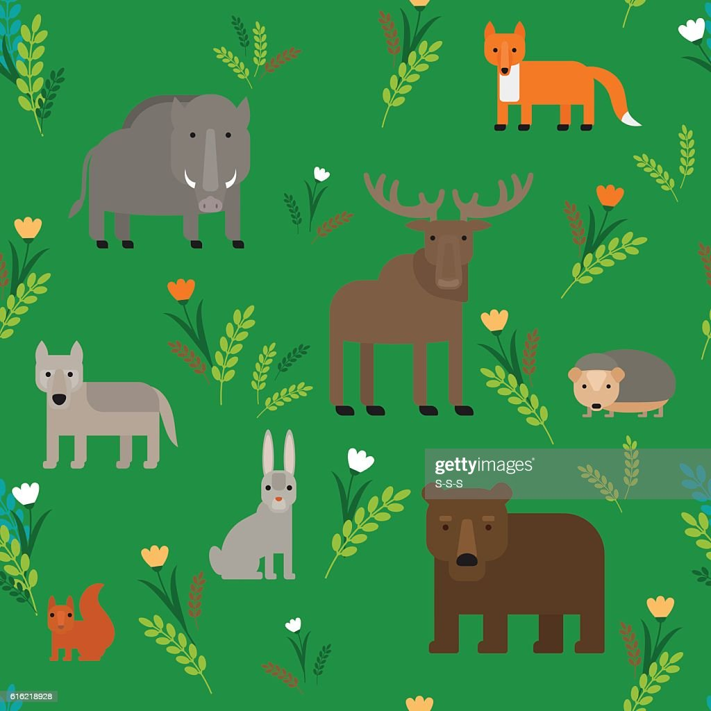 Animals Seamless Pattern : Vectorkunst