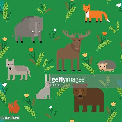 Tiere nahtlose Musterung : Vektorgrafik