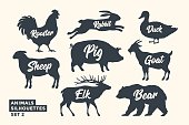 Animals silhouette set. Black-white silhouette of animals with lettering names. Design template for grocery, butchery, packaging, meat store. Farm and wild animals theme. Vector Illustration