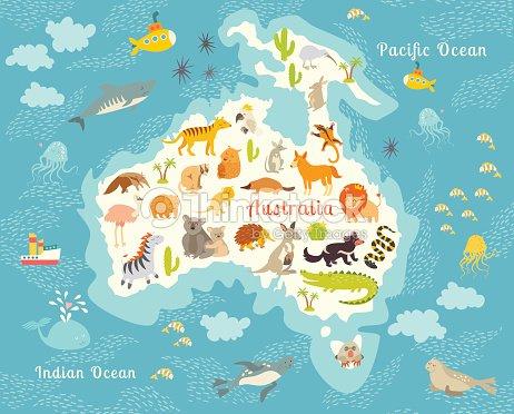 Australia Underwater Map.Animals World Map Australia Vector Illustration Stock Vector