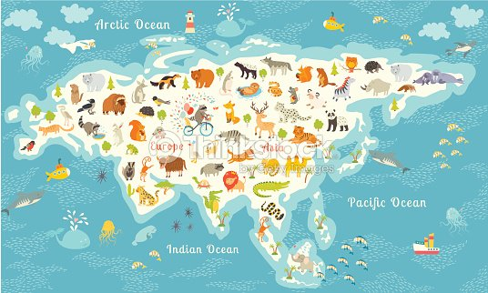 Animals world map north america colorful cartoon vector illustration animals world map north america colorful cartoon vector illustration vector art gumiabroncs Images