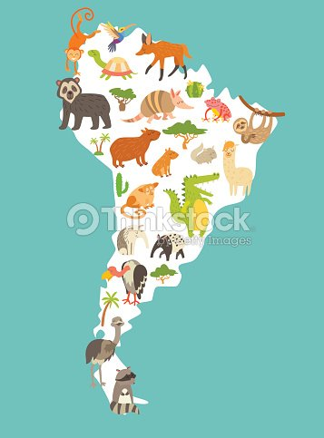 Animals world map sourth america colorful cartoon vector animals world map sourth america colorful cartoon vector illustration vector art gumiabroncs